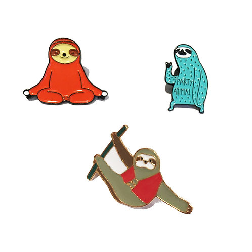 Sloth Pin Badges