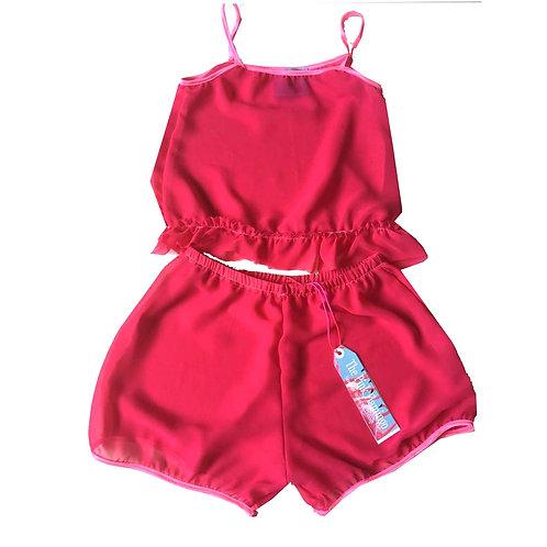 Cerise Chiffon Frill Camisole and Shorts Set