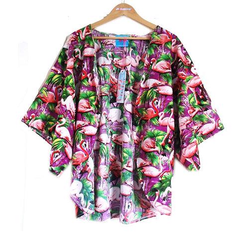 Retro Flamingo Print Slouchy Kimono