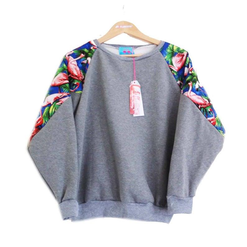Grey flamingo slouchy sweater