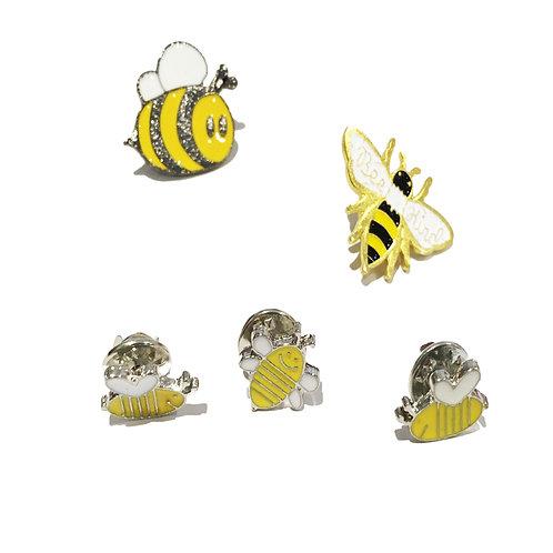 """Bee"" Happy Pin Badges"
