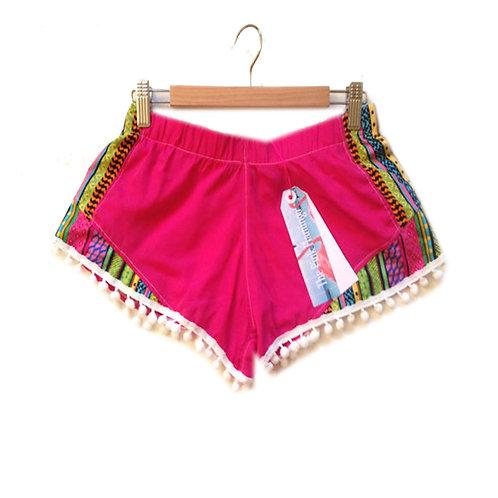 Hot Pink and Aztec Panel Print Pom Pom Shorts