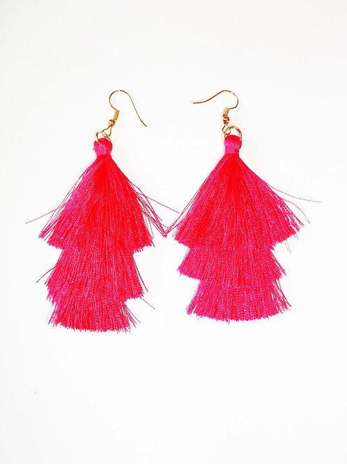 Hot Pink 3 Tier Tassel Earrings