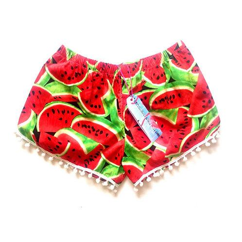 Red Retro Watermelon Print Pom Pom Shorts