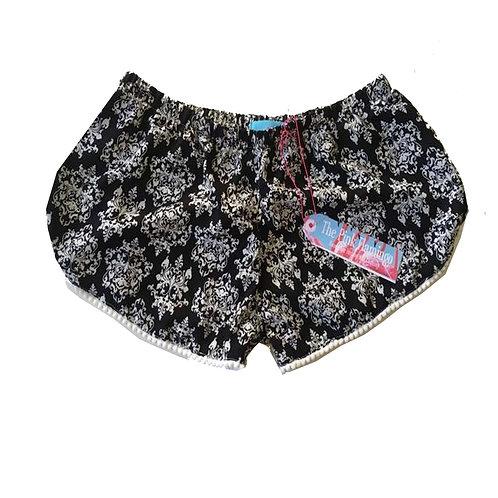 Monochrome Damask Print Pom Pom Trim Shorts