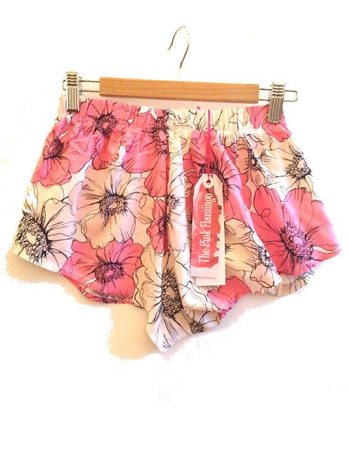 Pink Floral Sketch Pyjama Shorts