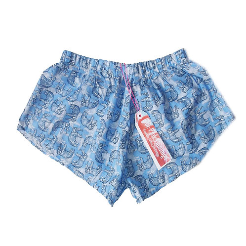 Blue Elephant Sketch Print Basic Shorts