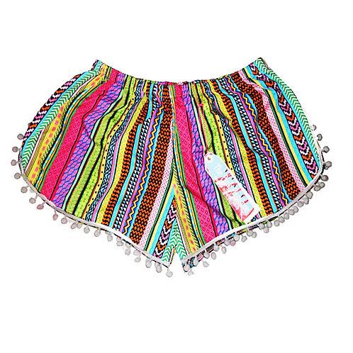 Bright Aztec Stripe Print Pom Pom Shorts