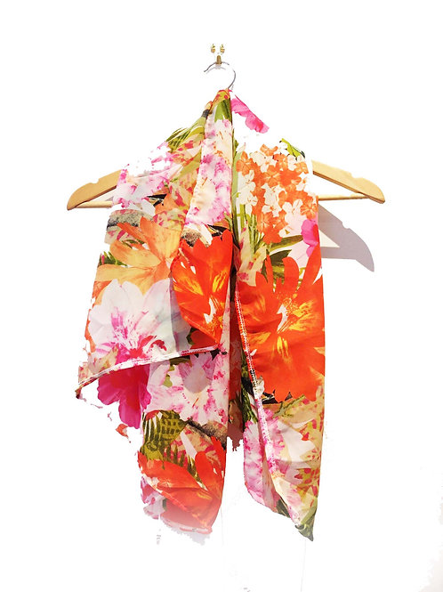 Orange and Pink Bold Floral Scarf