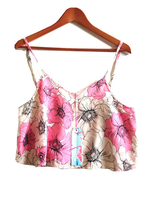Pink Floral Sketch Slouchy Swing Camisole