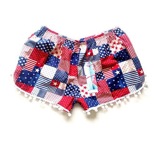 Age 2 - 3 Children's Red Gingham USA Pom Pom Shorts
