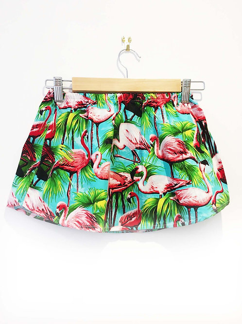 Girls Flamingo Print Simple A-Line Skirt