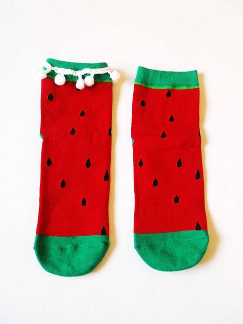Red Watermelon Pom Pom Socks