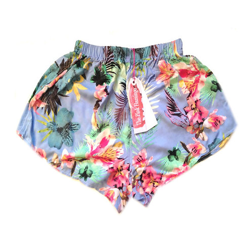 Pale Blue Pretty Floral Highwaisted Shorts