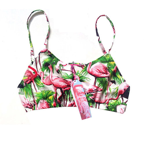White Retro Flamingo Print Crop Top
