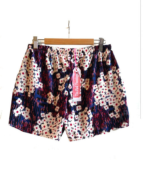 Pretty Red Floral Print Highwaisted Shorts