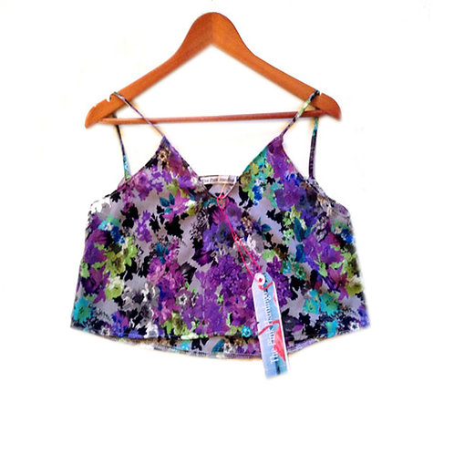 Size 10 Grey and Lilac Floral Abstract Print Crop Top
