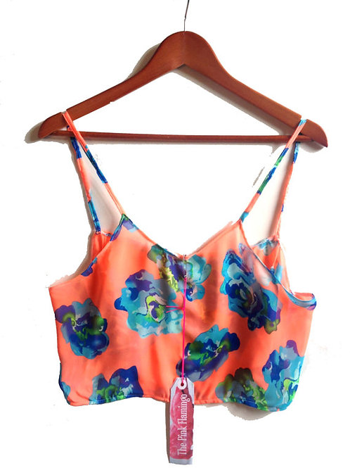 Orange and Blue Bold Floral Chiffon Camisole