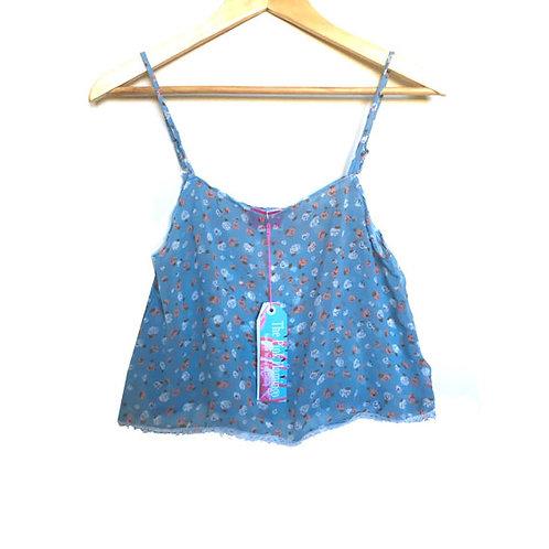 "Blue ""Candy"" Print Chiffon Camisole"