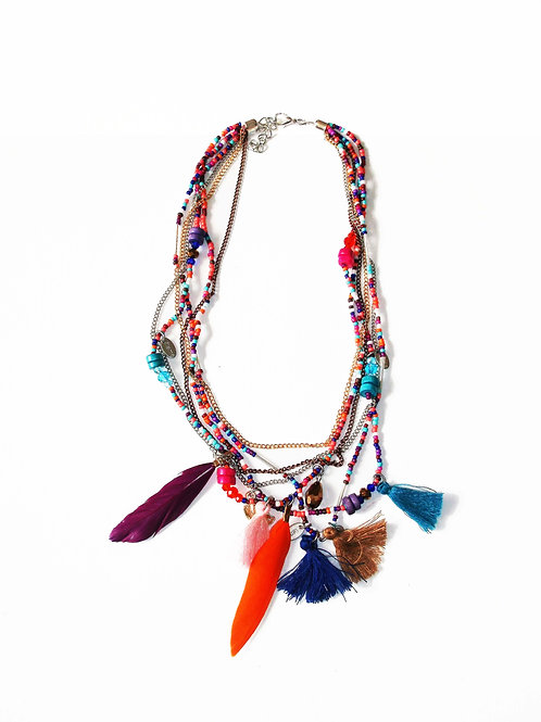 Tribal Beaded Feather and Tassel Charm Necklace