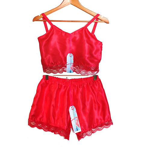 Red Satin Camisole with Floral Lace Trim