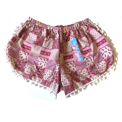 Burgundy Gingham Floral Print Pom Pom Shorts