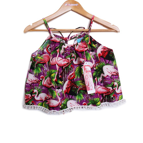 Purple Retro Flamingo Print Pom Pom Halter Top