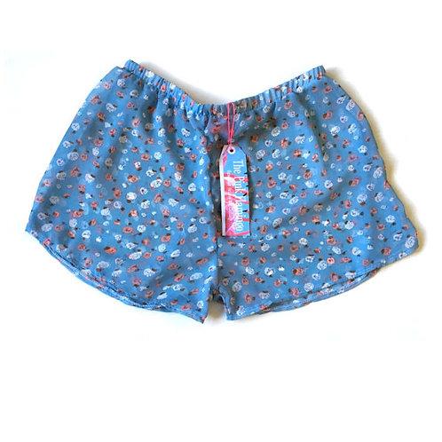 "Blue ""Candy"" Print Chiffon Shorts"
