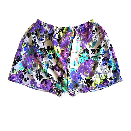 Lilac and Grey Floral Print Basic Shorts