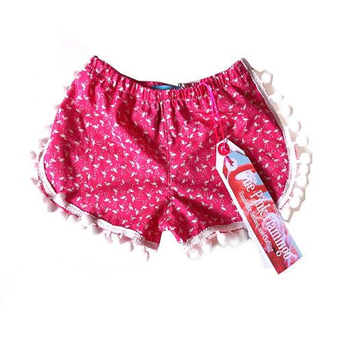 Children's Bright Pink Flamingo Pom Pom Shorts