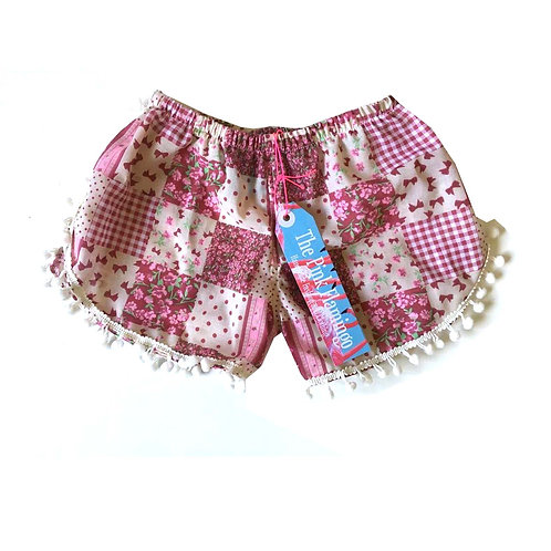 Children's Burgundy Gingham Pom Pom Shorts
