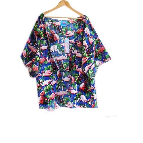 Girls Blue Flamingo Print Kimono