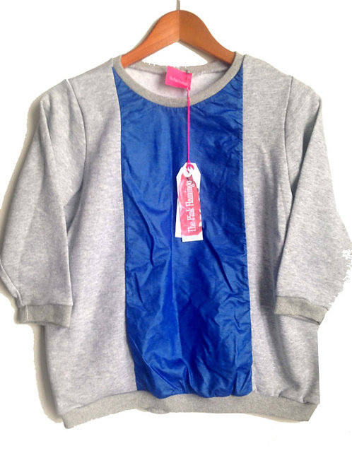 Grey Marl Blue PU Front Sweatsshirt