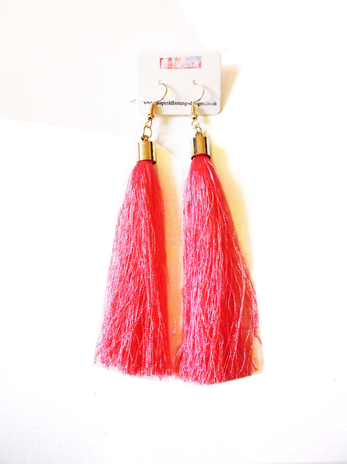 Long Tassel Drop Earrings - Pink