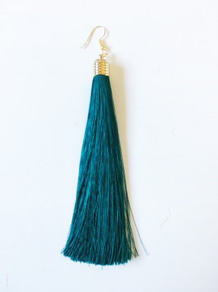 Long Tassel Drop Earrings -Emerald