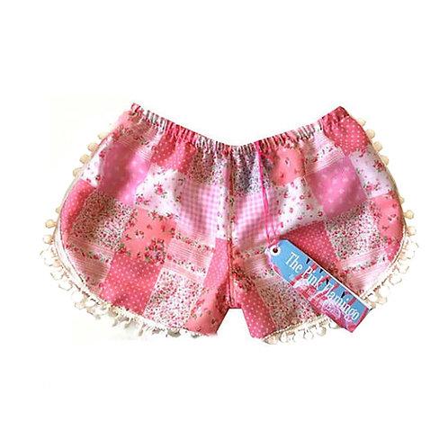 Cute Pink Gingham Print Pom Pom Shorts
