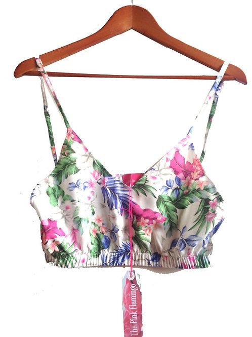 """Pastel """"Spring Bloom"""" Floral Print Crop Top"""