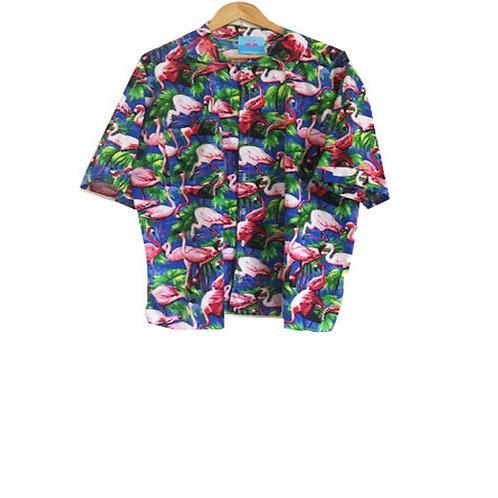 Men's Retro Blue Flamingo Print Shirt