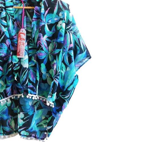 c744b647a0 Turquoise and Black Floral Print Pom Pom Trim Kimono