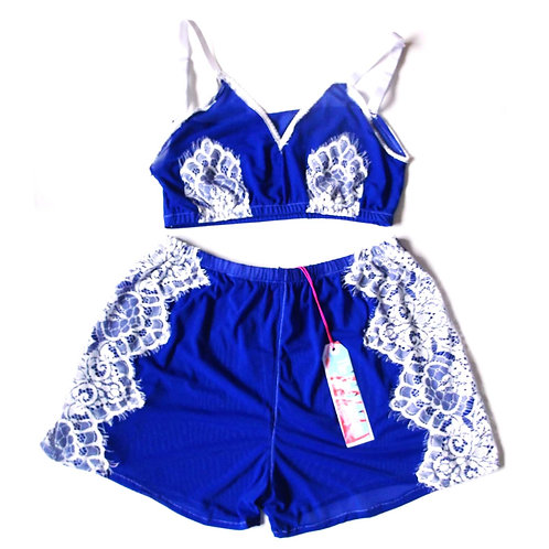 Royal Blue Mesh and Eyelash Appliqué Trim Bralet and Shorts Set