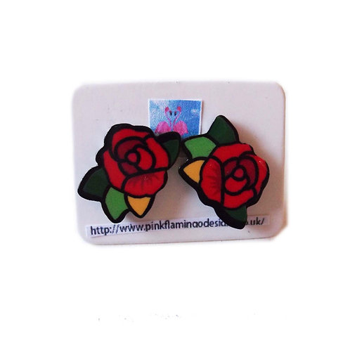 Rose Stud Acrylic Earrings