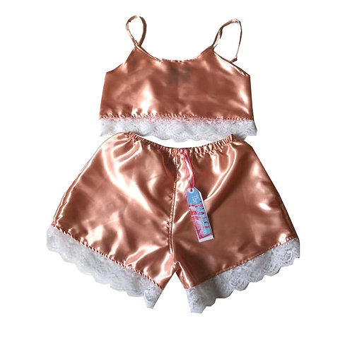 Nude Satin Camisole and Lace Shorts Set