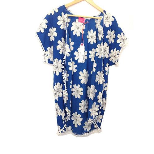 Retro Blue Floral Print Pom Pom Trim Kimono