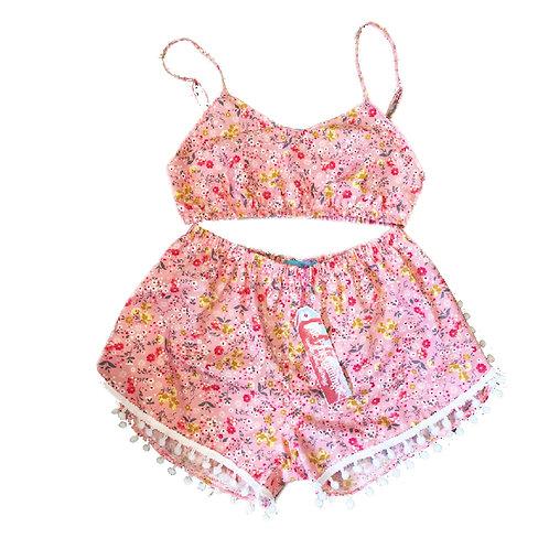 Pink Ditsy Floral Print Bralet and Pom Pom Shorts Set