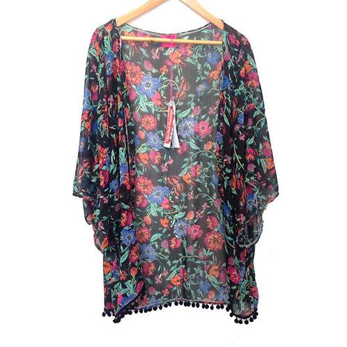 Black Floral Print Pom Pom Trim Slouchy Kimono