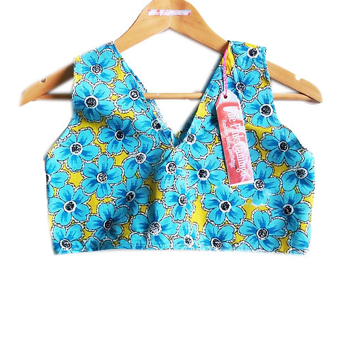 Yellow and Blue Floral Print Crop Top