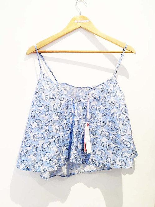 s10-12 Blue Elephant Print boxy Camisole