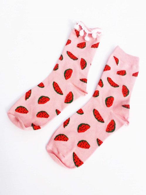 Pink Watermelon Pom Pom Socks