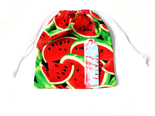 Retro Watermelon Print Drawstring Wash Bag