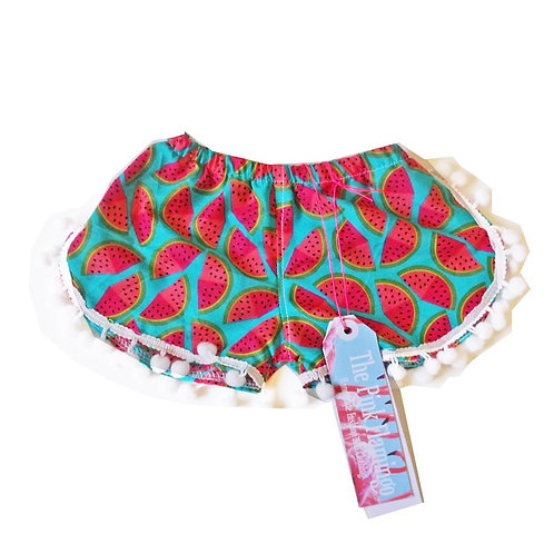 Baby Turquoise and Pink Watermelon Pom Pom Shorts